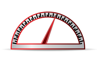 Image of a gauge indicating high performance.